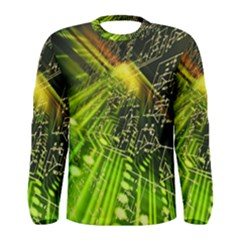 Electronics Machine Technology Circuit Electronic Computer Technics Detail Psychedelic Abstract Patt Men s Long Sleeve Tee