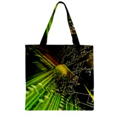 Electronics Machine Technology Circuit Electronic Computer Technics Detail Psychedelic Abstract Patt Zipper Grocery Tote Bag by BangZart
