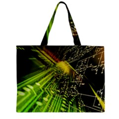 Electronics Machine Technology Circuit Electronic Computer Technics Detail Psychedelic Abstract Patt Medium Zipper Tote Bag by BangZart
