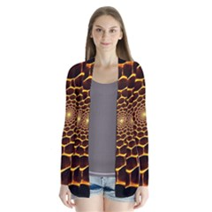 Honeycomb Art Drape Collar Cardigan