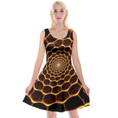 Honeycomb Art Reversible Velvet Sleeveless Dress