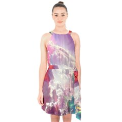 Clouds Multicolor Fantasy Art Skies Halter Collar Waist Tie Chiffon Dress