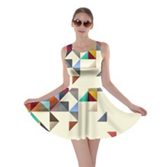 Retro Pattern Of Geometric Shapes Skater Dress