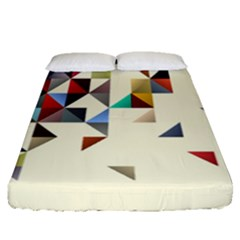 Retro Pattern Of Geometric Shapes Fitted Sheet (queen Size)