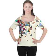 Retro Pattern Of Geometric Shapes Cutout Shoulder Tee