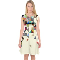 Retro Pattern Of Geometric Shapes Capsleeve Midi Dress