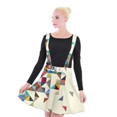 Retro Pattern Of Geometric Shapes Suspender Skater Skirt