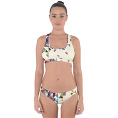 Retro Pattern Of Geometric Shapes Cross Back Hipster Bikini Set
