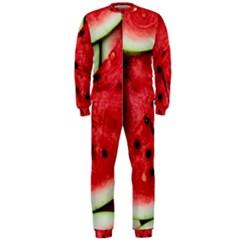 Fresh Watermelon Slices Texture Onepiece Jumpsuit (men)