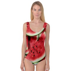 Fresh Watermelon Slices Texture Princess Tank Leotard