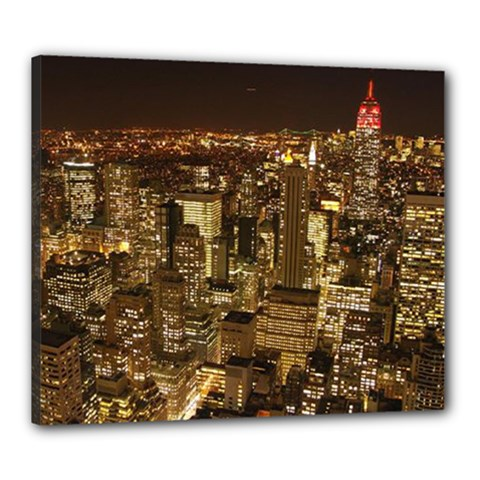 New York City At Night Future City Night Canvas 24  X 20