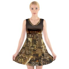 New York City At Night Future City Night V Neck Sleeveless Skater Dress