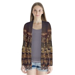 New York City At Night Future City Night Drape Collar Cardigan