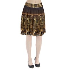 New York City At Night Future City Night Pleated Skirt