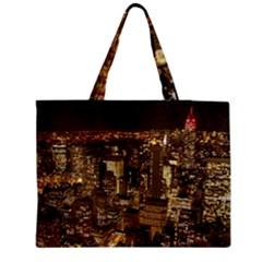 New York City At Night Future City Night Medium Zipper Tote Bag