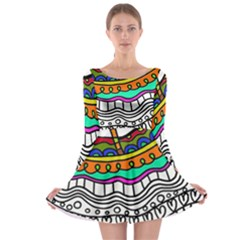 Abstract Apple Art Colorful Long Sleeve Skater Dress