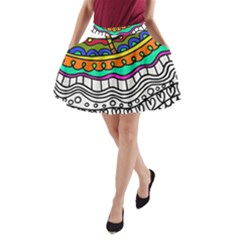 Abstract Apple Art Colorful A Line Pocket Skirt