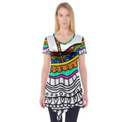 Abstract Apple Art Colorful Short Sleeve Tunic