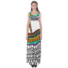 Abstract Apple Art Colorful Empire Waist Maxi Dress