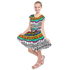 Abstract Apple Art Colorful Kids  Short Sleeve Dress