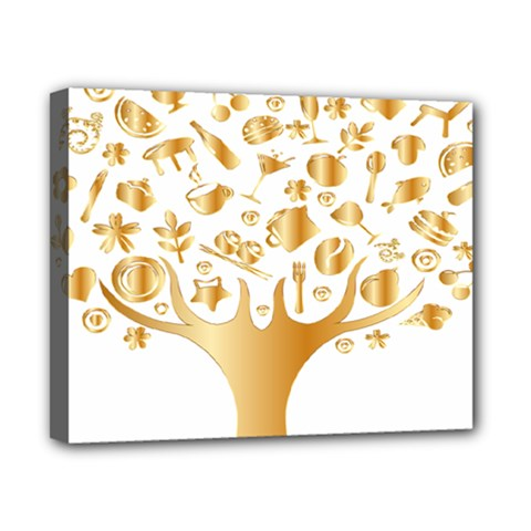 Abstract Book Floral Food Icons Canvas 10  X 8
