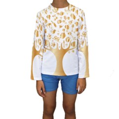 Abstract Book Floral Food Icons Kids  Long Sleeve Swimwear