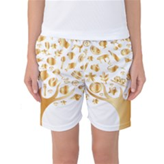 Abstract Book Floral Food Icons Women s Basketball Shorts
