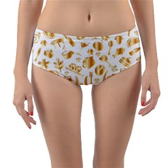 Abstract Book Floral Food Icons Reversible Mid Waist Bikini Bottoms