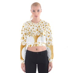 Abstract Book Floral Food Icons Cropped Sweatshirt