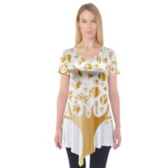 Abstract Book Floral Food Icons Short Sleeve Tunic