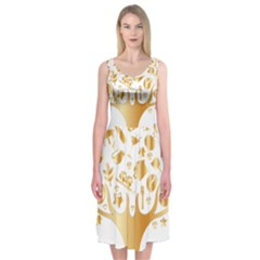 Abstract Book Floral Food Icons Midi Sleeveless Dress