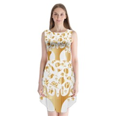 Abstract Book Floral Food Icons Sleeveless Chiffon Dress