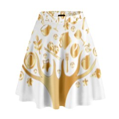 Abstract Book Floral Food Icons High Waist Skirt
