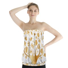 Abstract Book Floral Food Icons Strapless Top