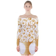 Abstract Book Floral Food Icons Long Sleeve Off Shoulder Dress