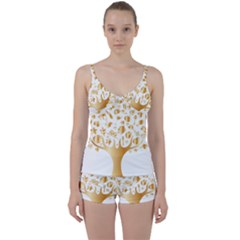 Abstract Book Floral Food Icons Tie Front Two Piece Tankini