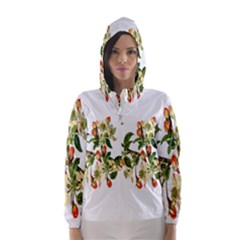 Apple Branch Deciduous Fruit Hooded Wind Breaker (women)