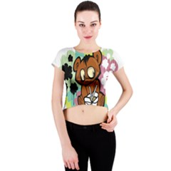 Bear Cute Baby Cartoon Chinese Crew Neck Crop Top