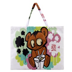Bear Cute Baby Cartoon Chinese Zipper Large Tote Bag by Nexatart