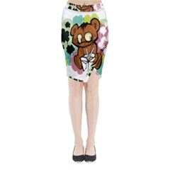 Bear Cute Baby Cartoon Chinese Midi Wrap Pencil Skirt
