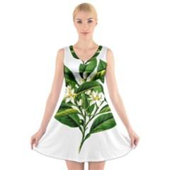 Bitter Branch Citrus Edible Floral V Neck Sleeveless Skater Dress
