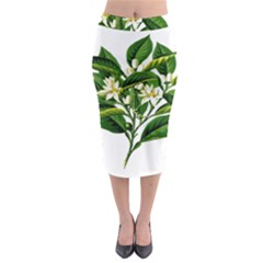 Bitter Branch Citrus Edible Floral Midi Pencil Skirt