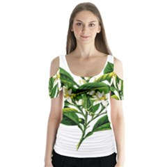 Bitter Branch Citrus Edible Floral Butterfly Sleeve Cutout Tee