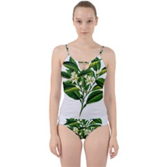 Bitter Branch Citrus Edible Floral Cut Out Top Tankini Set