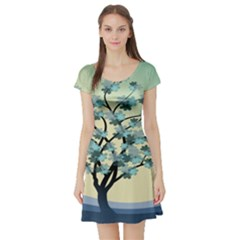 Branches Field Flora Forest Fruits Short Sleeve Skater Dress