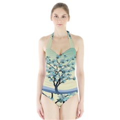 Branches Field Flora Forest Fruits Halter Swimsuit