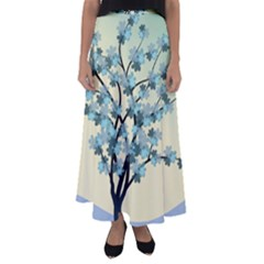 Branches Field Flora Forest Fruits Flared Maxi Skirt