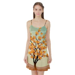 Branches Field Flora Forest Fruits Satin Night Slip