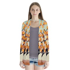 Branches Field Flora Forest Fruits Drape Collar Cardigan