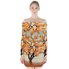 Branches Field Flora Forest Fruits Long Sleeve Off Shoulder Dress